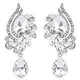 BriLove Women's Fashion Cluster Crystal Beaded Teardrop Chandelier Hollow Dangle Earrings