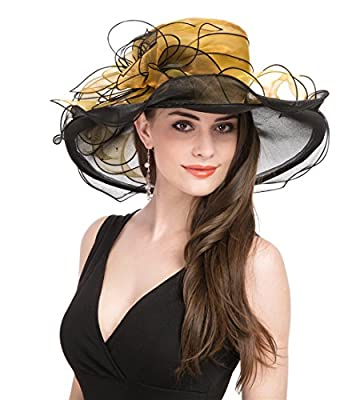Saferin Women's Kentucky Derby Sun Hat Church Cocktail Party Wedding Dress Organza Hat Two Tone Color