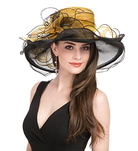 SAFERIN Womens Organza Church Kentucky Derby Fascinator Bridal Tea Party Wedding Hat