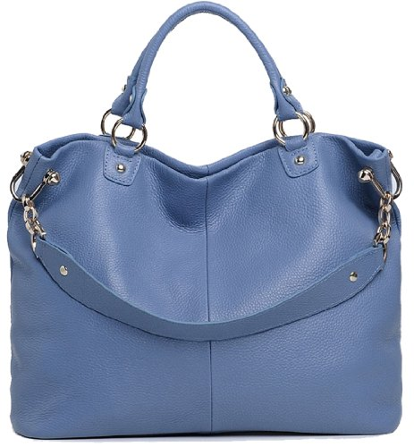 Heshe® 2015 Fashion Hot Sell Womens Soft Cowhide Leather Collection Top-handle Cross Body Shoulder Bag Satchel Tote Handbag (Ultramarine)
