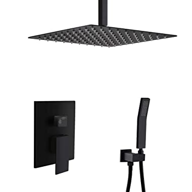 STARBATH Ceiling Mount Shower System with 12  High Pressure Rain Shower Head, Handheld Shower head and Shower Faucet Rough-in Mixer Valve and Trim Included, Luxury Rainfall Shower Sets (SS02FCB)