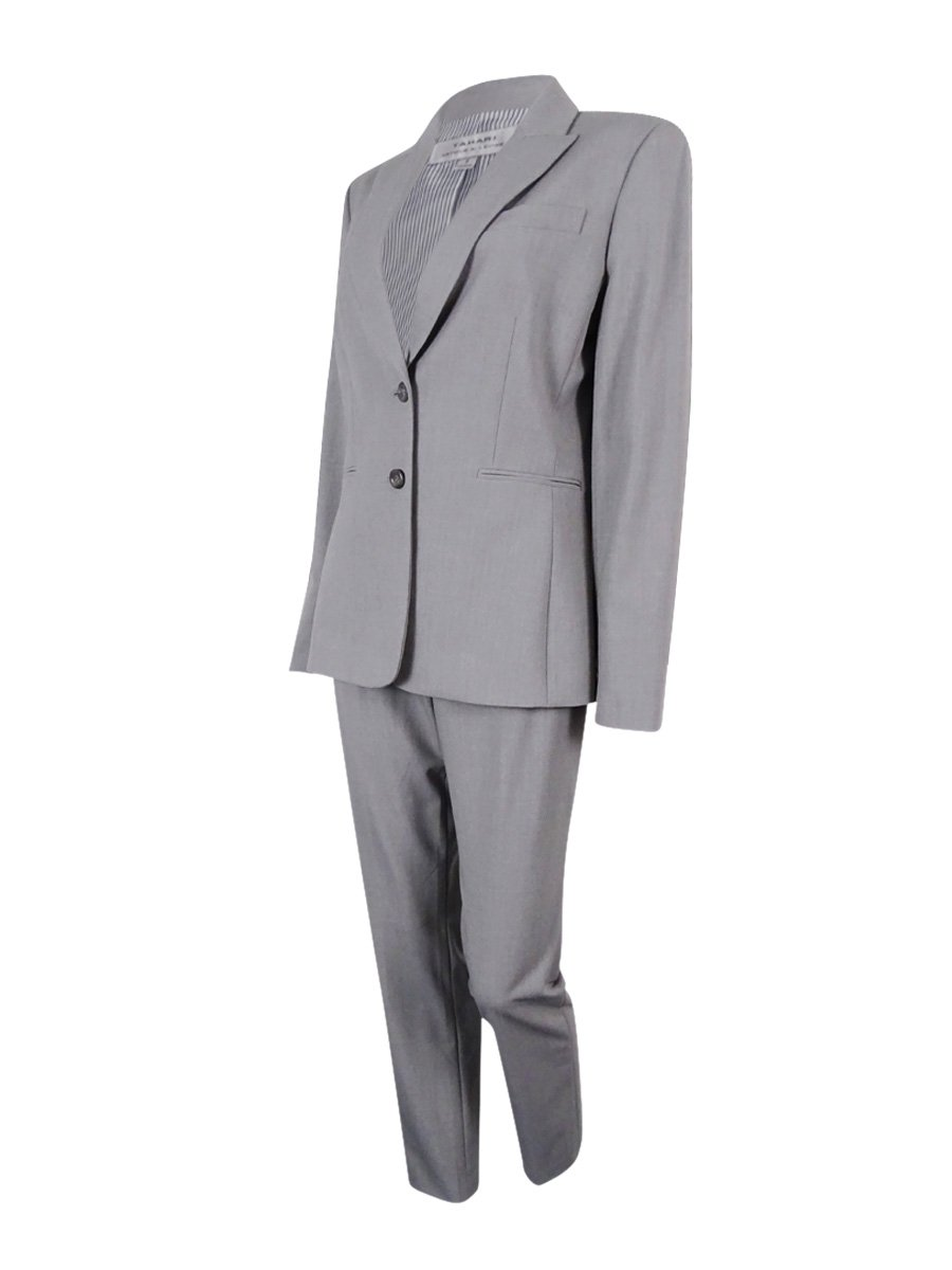 Tahari by Arthur S. Levine Women's Missy Bistretch Pant Suit with Striped Lining, Heather Grey, 8