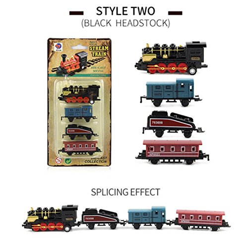 DORIC Mini Pull Back Train Classical Alloy Retro Steam Simulated Joint Train Model Kids Toys