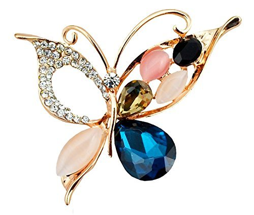 - Silver Shoppee Till Eternity 21K Yellow Gold Plated Crystal, Cubic Zirconia and Opal Alloy Elegant Fancy Wedding Brooch Pin for Girls and Women