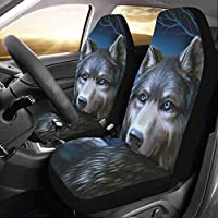 Artsadd Wolf Fabric Car Seat Covers (Set of 2) Best Automobile Seats Protector