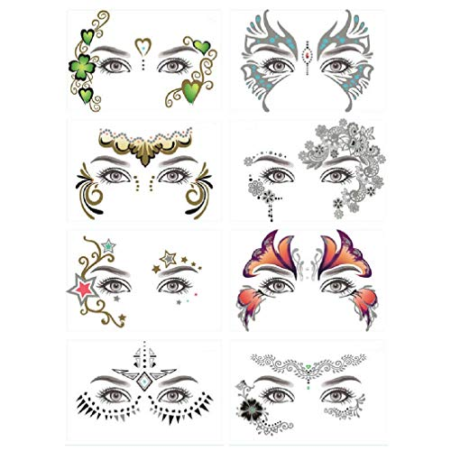 8 Pack Face Temporary Tattoo Waterproof Makeup Tattoo Stickers on Face Eye Forehead Body for Halloween Christmas Stage Masquerade Party -