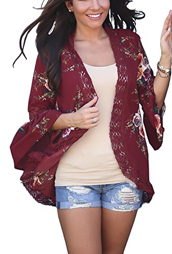 Floral Seasons Women Casual Spring Kimono Bell Sleeve Hollow Out Lace Short Cardigan