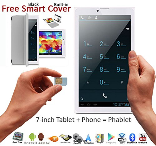 "Indigi 7"" Android 4.4 Phablet Tablet PC + 3G SmartPhone 2-in-1 Phablet DualSim WiFi Built-in Smart Case (Grey)"