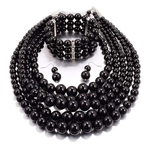 Women Multi Layer Faux Pearl Costume Jewelry Sets Simulated Pearl Strand Necklace Earrings and Bracelet (Black)