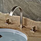 Double Bathroom Vanities Rozin Brushed Nickel Widespread 3pcs Bathroom Sink Faucet Double Knobs Basin Vanity Mixer Tap