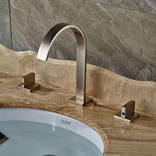 Rozin Brushed Nickel Widespread 3pcs Bathroom Sink Faucet Double Knobs Basin Vanity Mixer Tap Double Basin Vanity