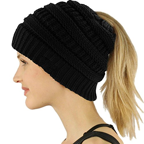 LEECCO Chic Black Knit Hat Cable Beanie Stretch Chunky Winter Bun Ponytail Beanie Tail Womens Ponytail Messy Bun Beanie Solid Ribbed Hat Cap For Women Girls (Winter Solid Beanie Long)