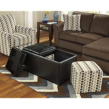 Ashley Furniture Signature Design Geordie Ottoman With Storage Flip Tops With Handled Serving Trays Contemporary Cafe