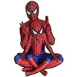 スパイダーマン 全身タイツ(赤)ライクラ 弾力と伸縮性あり 子供用 大人用 コスプレ衣装 コスチューム イベント (身長:110~120cm)