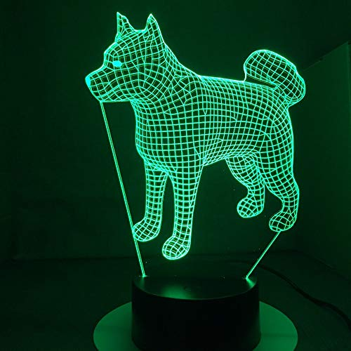 (QIANDONG1 American Japanese Akita Samoyed Husky Dog 3D Lamp 7 Colors Changing Desk Lamp Novelty Led Night Lights Led Light)