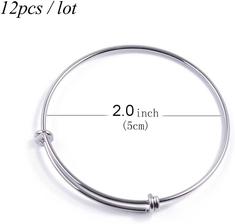 ZX Jewelry 6pcs Expandable Blank Bangle for Men Adjustable Wire Bracelet for Jewelry Making 2.6inch