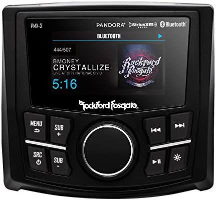 Rockford Fosgate PMX-3 Compact Digital Media Receiver with 2.7 Display Bundled with Mini Back Up Camera Sirius XM Tuner SXV300v1