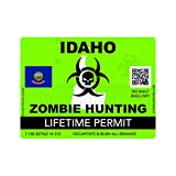 Zombie Idaho State Hunting Permit Sticker Self Adhesive Vinyl Decal ID
