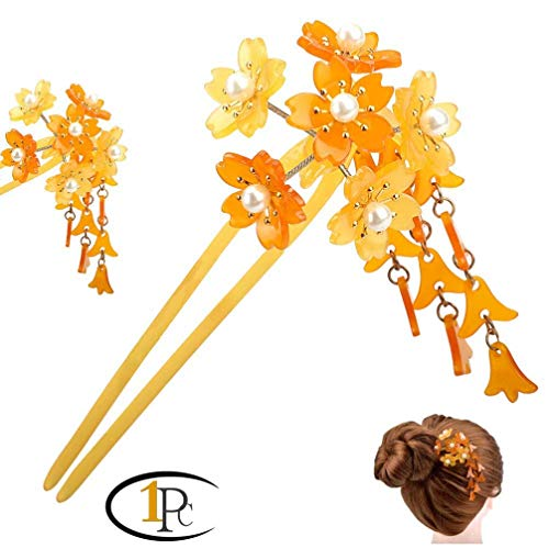 Acrylic 2-Prong Hair Stick Fork Hairpin with Gradient Flower Cluster & Faux Pearl Tassels,Geisha Hair Stick with Acrylic Peach Flower Cluster and Tassels