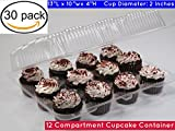 Cupcake Boxes, Cupcake Containers, 12 Compartment Cupcake Container, 12 Pack Cupcake Containers, Set of 30 12 compartment cupcake boxes (30, 12-Compartment cupcake box)