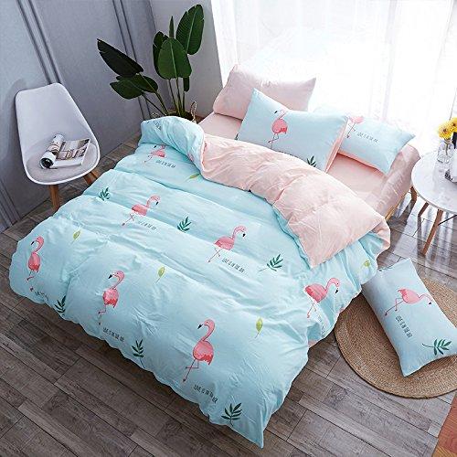 KFZ Bed Set Bedding Set Duvet Cover Flat Sheet Pillow Covers No Comforter Twin Full Queen King Sheets Set HYL Flanmingo Deer Puggy Pig Design Sheets Set for Kids (Animal Flamingo, Blue, King 86''x94'')