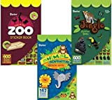 Darice Sticker Book Set, Zoo Stickers, Animal Adventure Stickers, Jungle Stickers – Total 1342 Stickers for Favors, Rewards, Scrapbooking, Party Treat Bags, Invitations, Cards, Crafts, Baby Birthday