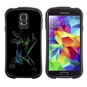 Suave TPU Caso Carcasa de Caucho Funda para Samsung Galaxy S5 SM-G900 / Neon Color Hand / STRONG
