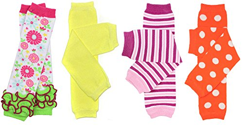 JuDanzy 4-pack baby & toddler leg warmers gift set for boys & girls (Newborn (up to 12 pounds), Beach 4-Pack)