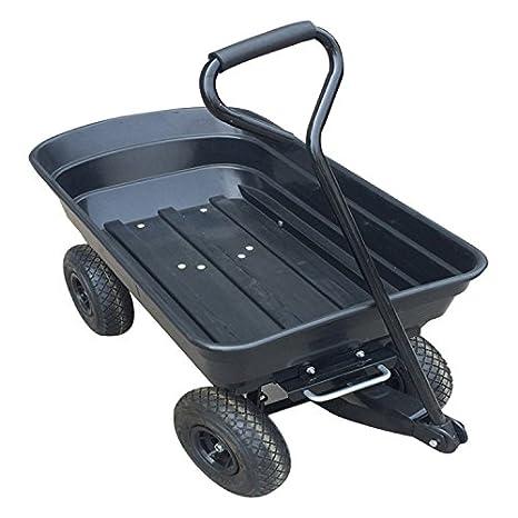 vuhom Poly carro de jardín camión volquete con marco de acero y 25,4 cm