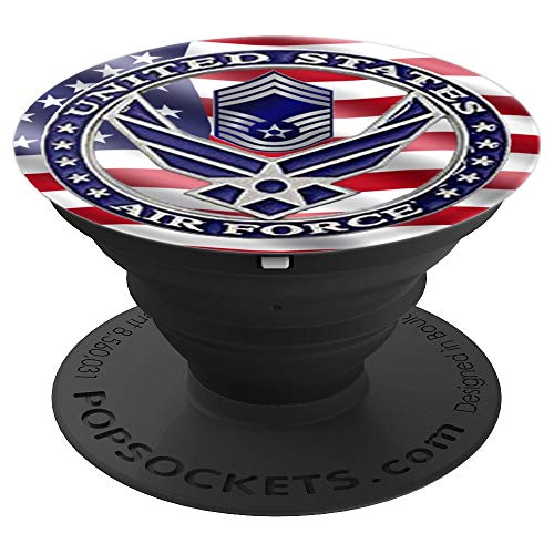 Proud US Air Force show your flag branch Chief Master Sgt - PopSockets Grip and Stand for Phones and Tablets Chief Master Of The Air Force
