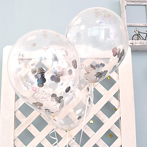 12'' Clear Balloons Prefilled with 2.5cm Silver Confetti for Wedding Birthday Grad Party Chirstmas Decorations (Pack of 12) -