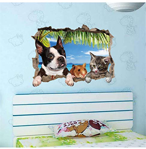 EWQHD Cartoon Animal Dogs Pet Puppy Flower Footprint Wall Stickers Kids Rooms Bedroom Home Decor Wall Decals Mural Art DIY Poster,I