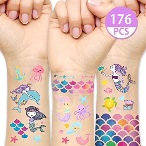 KREATWOW Mermaid Tattoos Temporary for Kids Mermaid Scale Temporary Tattoo 176PCS