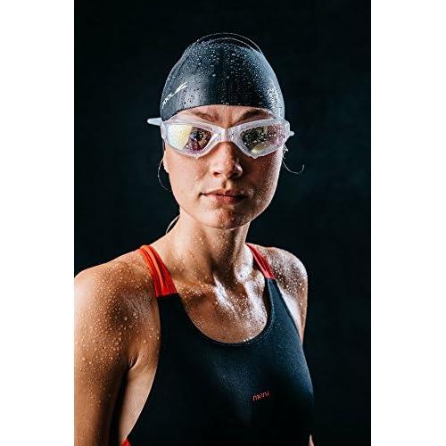 Lunettes de natation Silverslick mixte Triathlon Miroir UV Extra Vision clair objectif étanche pas de fuites Coupe confortable * gratuit Coque design, Pince-nez et bouchons d'oreille