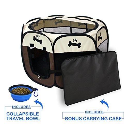 YOOBE Pet Portable Plegable Plegable Valla de Transporte y Recipiente de Viaje Plegable | Uso Interior/Exterior | Impermeable | Parasol extraíble | ...