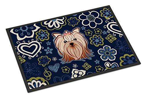 Caroline's Treasures BB5055MAT Blue Flowers Yorkie Yorkishire Terrier Indoor or Outdoor Mat 18x27 doormats, Multicolor