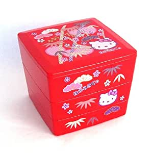 bento hello kitty design japanese style 3 layer bento lunch box red kitchen dining. Black Bedroom Furniture Sets. Home Design Ideas