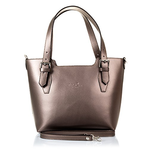 25 Bag 10 Genuine Shoulder Women's Design Vera Tamponato Pelle Colour Finish nbsp;cm Made Exclusive Tote Italy Firenze Artegiani Leather Women Italian 37 Bronze nbsp;x In nbsp;x qxw5R5BnY