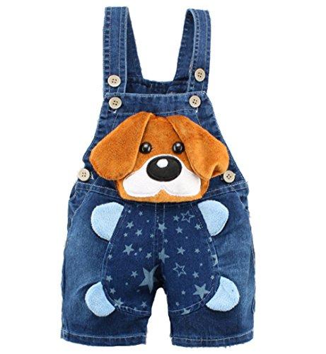 Kidscool Baby Summer Cotton Denim 3D Cartoon Yellow Dog Soft Short Overalls