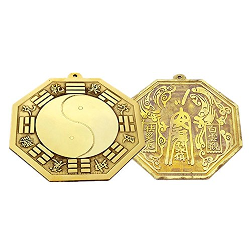 4.5'' Feng Shui Brass I-Ching Tai Chi Bagua Mirror Brass Protection Charm Amulet + Free Handmade Adjustable Luck Red Bracelet