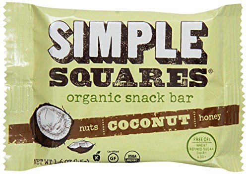 Simple Squares Organic Snack Bar, Coconut, 1.6 Ounce (Pack of 12)