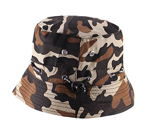 Natuworld Cotton Bucket Hats Camouflage Round Brim Boonie Bush Safari Fishing Hat Cap Summer for Unisex Men Women - 7 Color - Summer Bush
