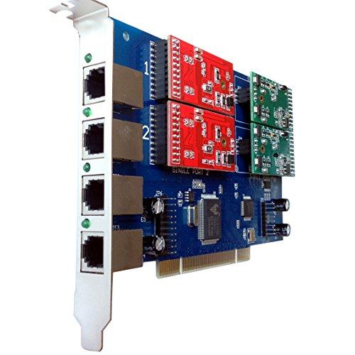 4 Port Analog Card with 2 FXS + 2 FXO Ports For FreePbx,Elastix,Trixbox,Asterisk Card PCI FXO FXS Voice card (4 Port Analog Line Card)