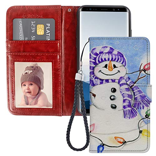 (Dewei Wallet Case for Samsung Galaxy Note 8 Christmas Snowman Pattern with Kickstand Wrist Strap and Card Slots Flip Folio Case for Samsung Galaxy Note 8)