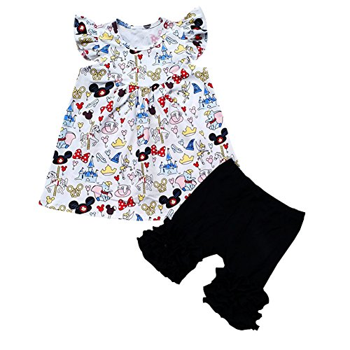 Baby Girl Flutter Mickey Pearl top with Icing Shorts Set Baby Spring Summer Boutique -