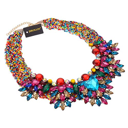 Fashion Jewelry Resin Acrylic Cluster Chain Choker Collar Bib Statement Pendant Necklace (Multicolor) ()