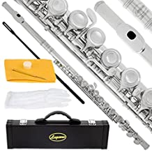 Lazarro Professional Silver Nickel Closed Hole C Flute for Band, Orchestra, with Case, Care Kit, Gloves and Warranty, 120-NK
