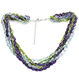 Sterling Silver Simulated Purple Amethyst ,Simulated Peridot ,Simulated Blue Crystal Twisted Necklace