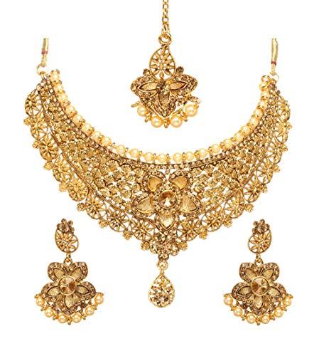 BindhaniBridal Bollywood Indian Gold Plated Kundan Necklace Earrings Tikka Wedding Jewelry Set for Women