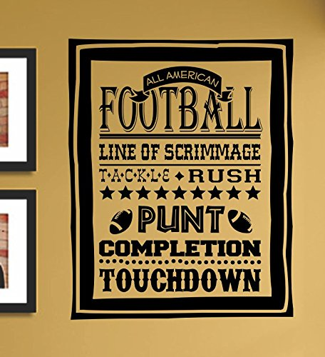 (All American Football line of scrimmage Tackle Rush Punt Completion Touchdown Vinyl Wall Art Decal Sticker)